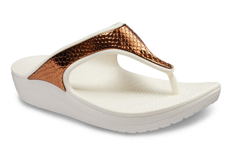 Crocs Sloane Metallic Text Flip Slip On Bronze/Oyster