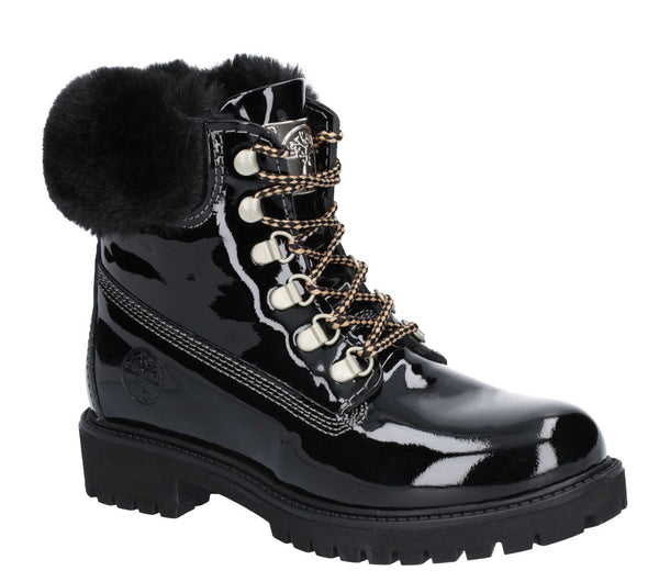 Darkwood Larch Lace Up Boot Black Patent