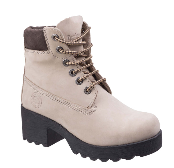 Darkwood Pine 7040 Womens Platform Sole Rugged Style Laced Ankle Boot Beige