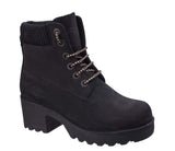 Darkwood Pine 7040 Womens Platform Sole Rugged Style Laced Ankle Boot Black