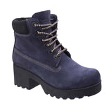 Darkwood Pine 7040 Womens Platform Sole Rugged Style Laced Ankle Boot Navy