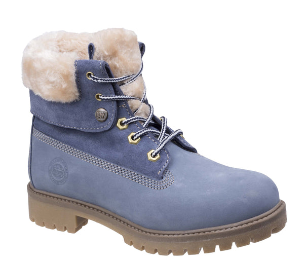 Darkwood Walnut 7001 Womens Lace Up Ankle Boot With Faux Fur Collar Blue