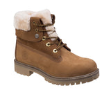 Darkwood Walnut 7001 Womens Lace Up Ankle Boot With Faux Fur Collar Cinnamon