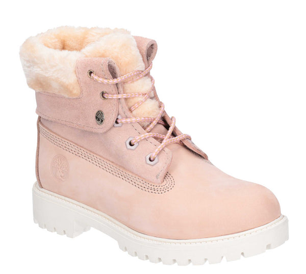 Darkwood Walnut II Lace Up Boot Light Pink/White Sole