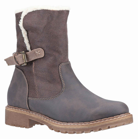 Divaz Melanie Mid Buckle Boot Brown