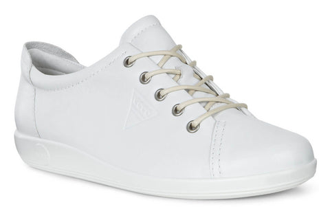 Ecco Soft 2.0 Womens Lace Up Casual Shoe 206503-01007 White 01007