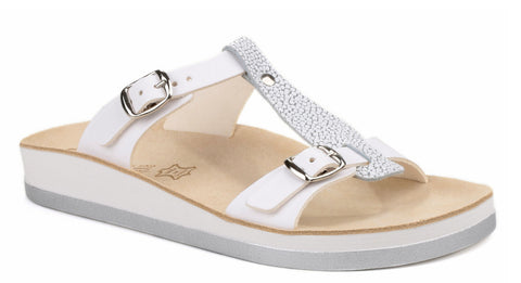 Fantasy Arillas Womens Twin Buckle Slide Sandal White/Silver/White