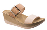 Fantasy Artemis Womens Wedge Heeled Two Strap Mule Sandal Natural