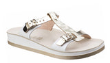 Fantasy Jessamine Womens Twin Buckle Slide Sandal Gold L