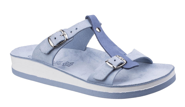 Fantasy Jessamine Womens Twin Buckle Slide Sandal Navy S