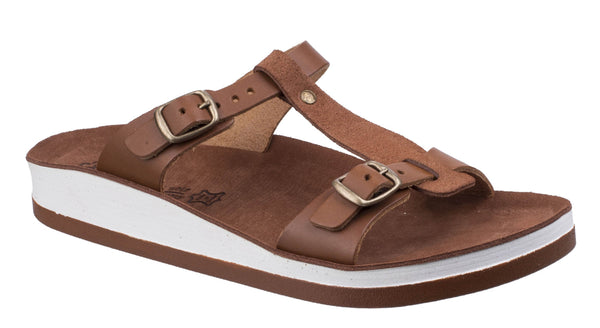Fantasy Jessamine Womens Twin Buckle Slide Sandal Tobacco S