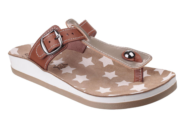 Fantasy Naxos Womens Slip On Toe Post Casual Sandal Pearl/Tan