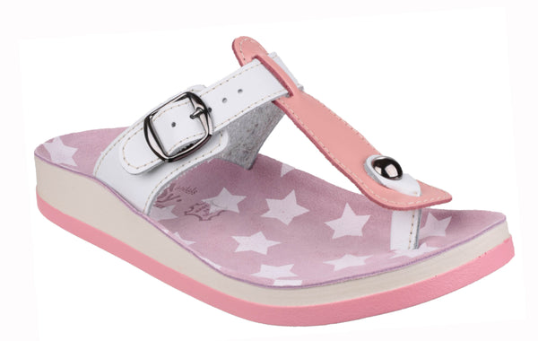 Fantasy Naxos Womens Slip On Toe Post Casual Sandal Pink/White