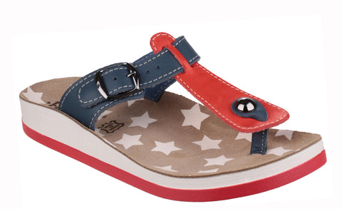 Fantasy Naxos Womens Slip On Toe Post Casual Sandal Red/Blue