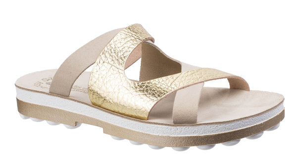 Fantasy Valentina Womens Summer Slide Sandal Nude/Gold