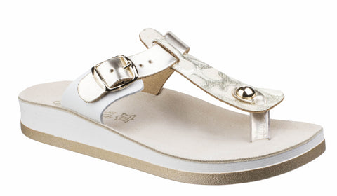 Fantasy Viola Leather Womens Toe Post Casual Sandal Gold L