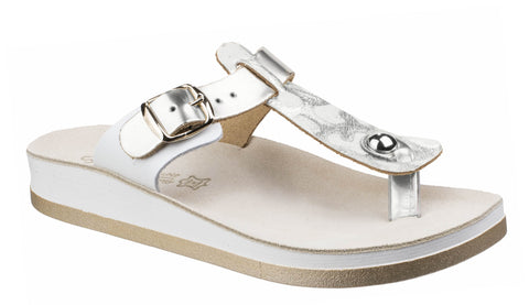 Fantasy Viola Leather Womens Toe Post Casual Sandal Silver L