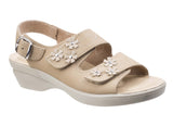 Fleet & Foster Amaretto Womens Wedge Heeled Slingback Touch Fastening Sandal Beige