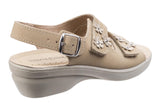 Fleet & Foster Amaretto Womens Wedge Heeled Slingback Touch Fastening Sandal