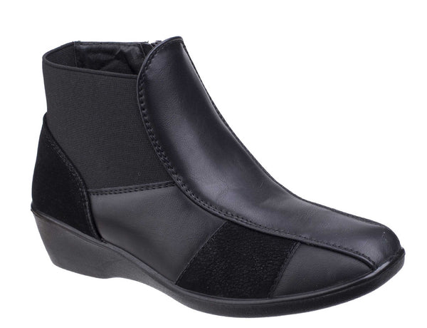 Fleet & Foster Festa Womens Wedge Heeled Casual Ankle Boot Black