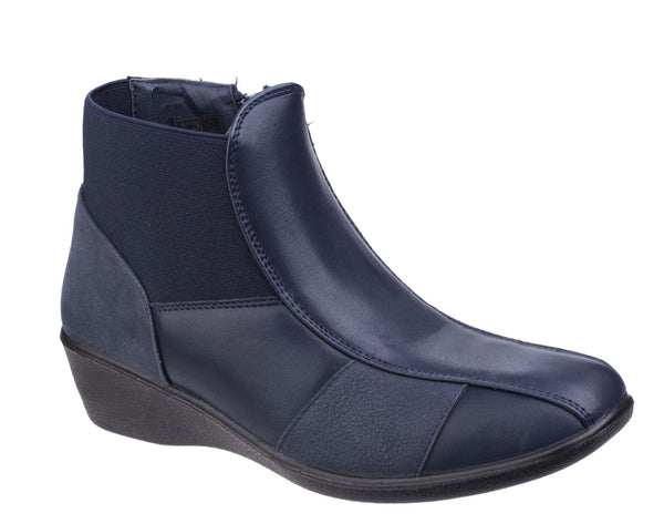Fleet & Foster Festa Womens Wedge Heeled Casual Ankle Boot Navy