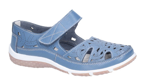 Fleet & Foster Jasmine Touch Fastening Shoe Blue