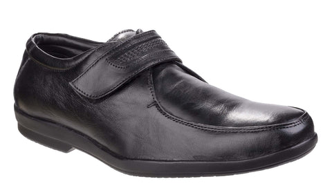 Fleet & Foster Jim Mens Leather Touch Fastening Shoe Black