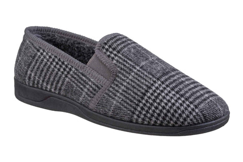 Fleet & Foster Minnesota Mens Check Textille Warm Lined Slipper