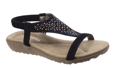 Fleet & Foster Nicosia Womens Slip On Summer Sandal With Jewel Stud Detail Black