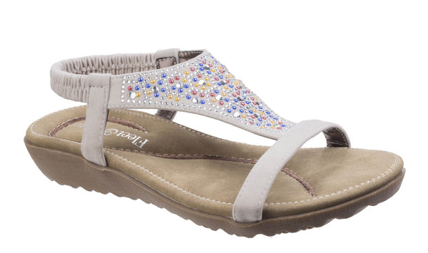 Fleet & Foster Nicosia Womens Slip On Summer Sandal With Jewel Stud Detail White