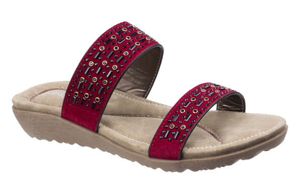 Fleet & Foster Parisio Womens Jewel Detail Slip On Summer Mule Sandal Red