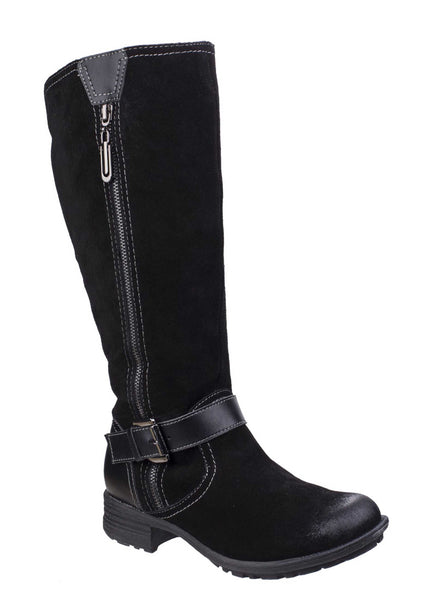 Fleet & Foster Tokyo Womens Zip Detail Suede Long Leg Casual Boot Black