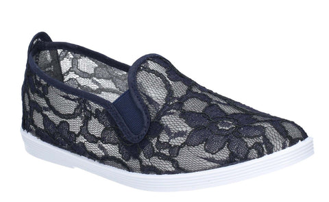Flossy Bimba Womens Lace Detail Slip On Casual Shoe