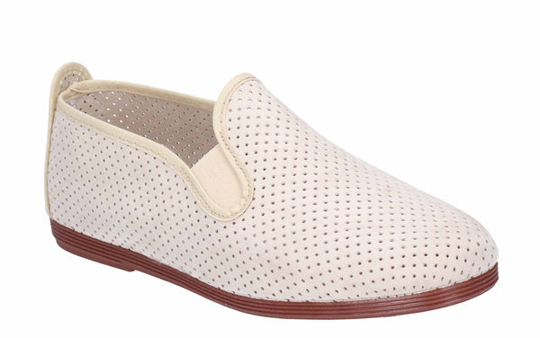 Flossy Pulga Mens Punched Detail Slip On Casual Shoe