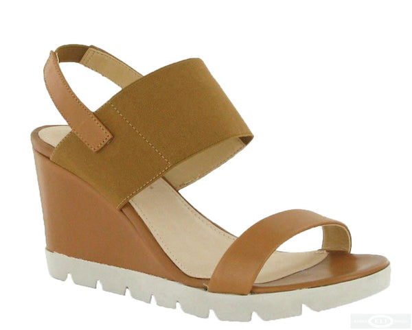The Flexx Give A Lot Womens Wedge Heeled Slip On Sandal Tan