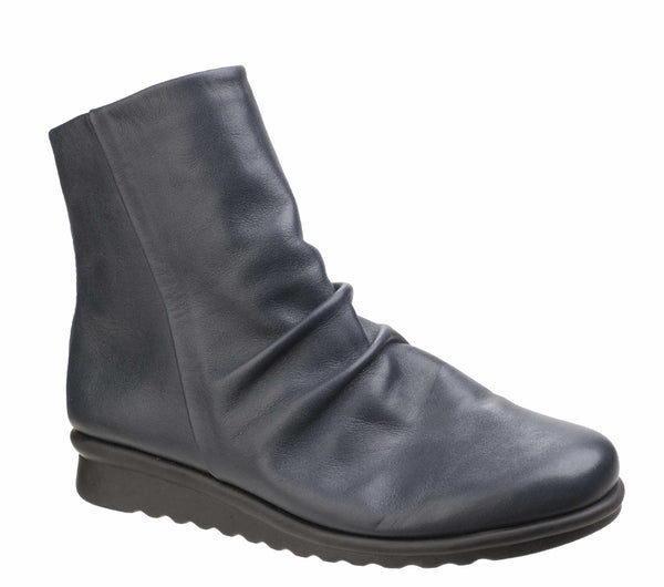 The Flexx Pan Fried Womens Ruche Detail Leather Ankle Boot Ocean