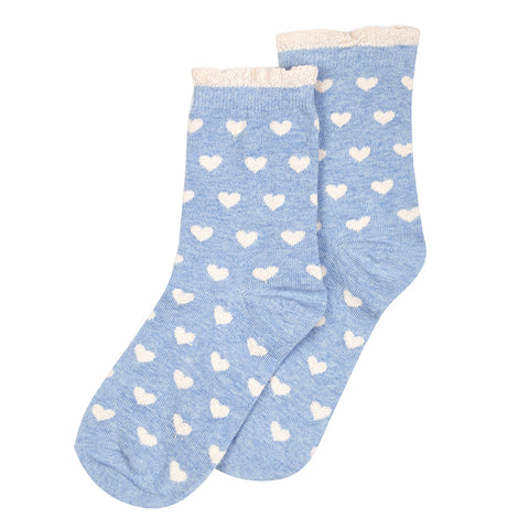 Forever England Womens Heart Soft Blue Socks