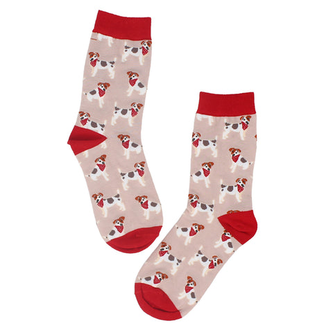 Forever England Womens Monty Dog Red Multi Socks