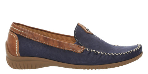 Gabor California Womens Wide Fit Slip On Moccasin Loafer 86.090 46 Navy S