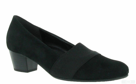 Gabor Sovereign Womens Wide Fit Suede Leather Dress Court Shoe 62.052 47 Black S