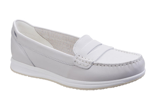 Geox Avery Womens Leather Slip On Loafer Off Wh C1002