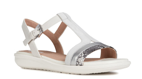 Geox D Jearl Sand B Buckle Sandal Off White/Black