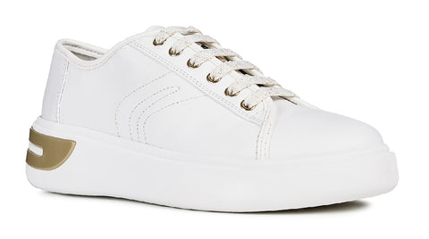 Geox D Ottaya A Lace Up Leather Trainers White
