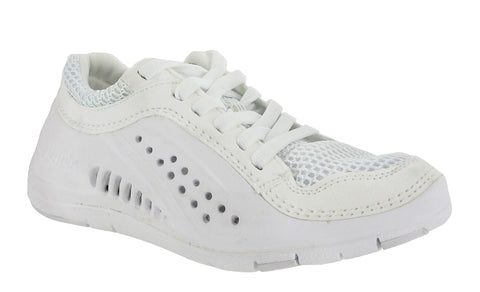 Glagla Tivano Ladies Ventilated Lace Up Casual Shoe White