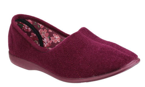 GBS Audrey Womens Velour Full Slipper Burgundy