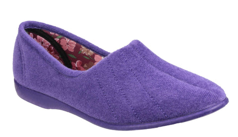 GBS Audrey Womens Velour Full Slipper Lilac