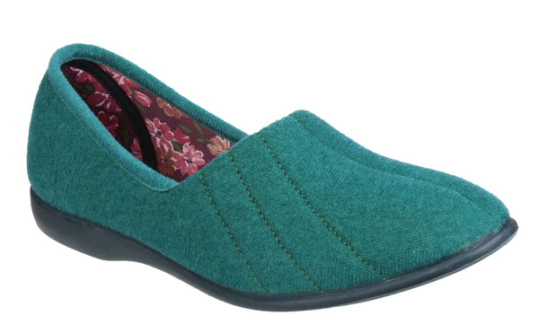 GBS Audrey Womens Velour Full Slipper Ocean