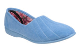 GBS Audrey Womens Velour Full Slipper Pale Blue