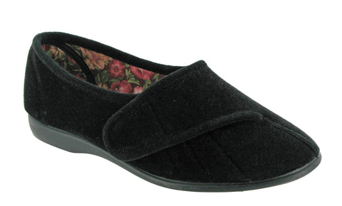 GBS Audrey Womens Touch Fastening Full Slipper Black