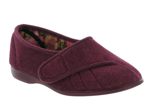 GBS Audrey Womens Touch Fastening Full Slipper Heather
